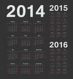Europeu 2014, 2015, calendários de um vetor de 2016 anos Fotos de Stock Royalty Free