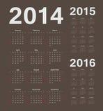 Europeu 2014, 2015, calendários de um vetor de 2016 anos Foto de Stock Royalty Free