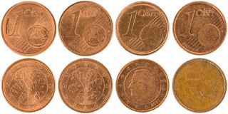 Europeu moedas parte dianteira e parte traseira de 1 centavo isoladas no backgro branco Foto de Stock Royalty Free