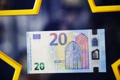 Europeu novo do papel do dinheiro da moeda de conta de 20 cédulas do Euro Imagem de Stock Royalty Free