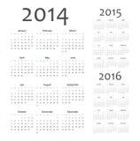 Europeu 2014, 2015, calendários de um vetor de 2016 anos Foto de Stock