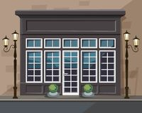 Europian Shop Boutique Museum Restaurant Cafe Store Front with Windows. Vector Old Europian Shop Boutique Museum Restaurant Cafe Store Front with Big Windows Stock Photography