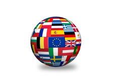 Europian union   countries Flags. Flags of EU countries on globe sphere ball Royalty Free Stock Photos