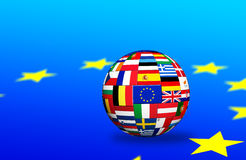 Europian union   countries Flags. Flags of EU countries on globe sphere ball Stock Photos