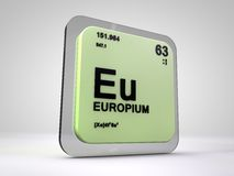 Europio - Eu - tabla periódica del elemento químico stock de ilustración