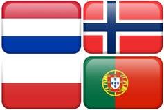 Europäische Markierungsfahnen-Tasten: NL, N, POL, P Stockbild
