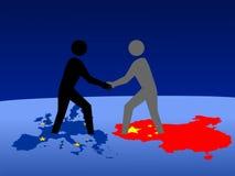 Europäische und chinesische Sitzung Stockfotografie