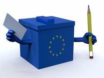 Europäische Wahlurne mit den Armen, Bleistift und Abstimmungspapier Stockbilder