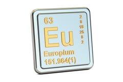 Europium-Eu, Zeichen des chemischen Elements Wiedergabe 3d Stockbilder