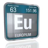 Europium Symbol in square shape with metallic border and transparent background with reflection on the floor. 3D render. Element number 63 of the Periodic vector illustration