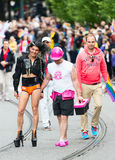 Europride 2014 Couple holding hands on parade Royalty Free Stock Image