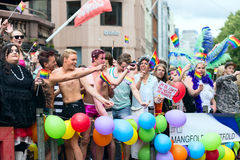 Europride 2014 Group of people on gay parade in Oslo. OSLO, NORWAY - JUNE 28: Europride parade in Oslo on June 28, 2014. The Parade is 3 km long Stock Photo