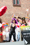 Europride 2014 Ladys on parade one with pink hair Royalty Free Stock Photography