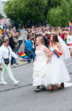 Europride 2014 Newly wed couple on parade Royalty Free Stock Images