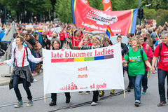 Europride parade in Oslo late bloomer ladies. OSLO, NORWAY - JUNE 28: Europride parade in Oslo on June 28, 2014. The Parade is 3 km long Stock Image