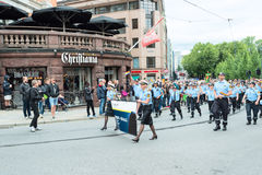 Europride parade in Oslo police support Royalty Free Stock Image