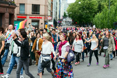 Europride 2014 People chanting on parade in Oslo Stock Images