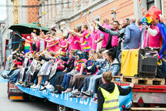 Europride 2014 Platform with people on parade Royalty Free Stock Photo