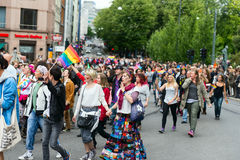 Europride 2014 Young people on pride parade in Oslo Royalty Free Stock Images
