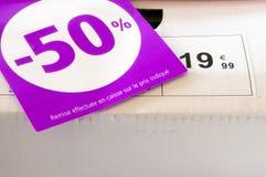 Europris och försäljningar Arkivfoto