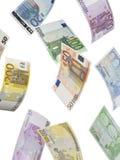 Euroräkningcollage som isoleras på vit Arkivfoton