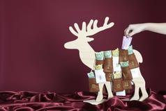 Eurorechnungen in einem Aufkommenkalender Stockfoto