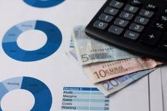 Eurorechnungen gesetzt auf Papierblätter mit Kreisdiagrammen Stockfoto