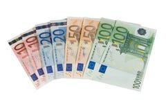Eurorechnungen (getrennt auf Weiß) Stockfotografie