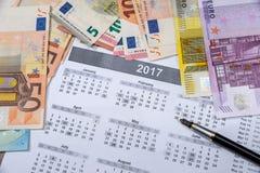 Eurorekeningen op de kalender van 2017 Royalty-vrije Stock Foto