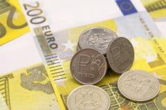 Eurorubelbanknoten, das Konzept eines Rädchens eines großen Euros stockfotos