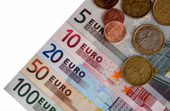 Euros. Euro notes from 5 to 100, plus coins, Isolated Royalty Free Stock Photos