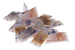 Euros. On the white surface Stock Photography