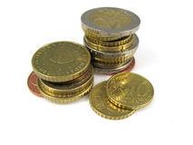 Euros. Some different euro coins on a pile royalty free stock photo