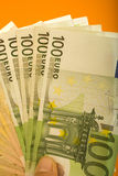 Euros. A lot of euros in one hand Royalty Free Stock Images