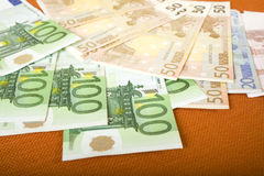 Euros. A lot of euros in one hand Royalty Free Stock Photos