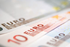 Euros. Close up of euros banknote Royalty Free Stock Photography