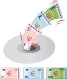 Euros abajo del dren ilustración del vector