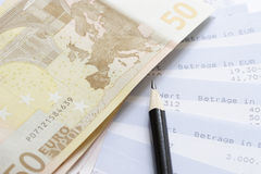 Euros and account statements. Cash stock images