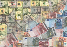 Euros and American dollars Stock Photo