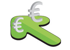 Euros arrow - vector Royalty Free Stock Images