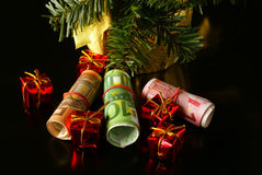 Euros as Christmas gift Royalty Free Stock Image