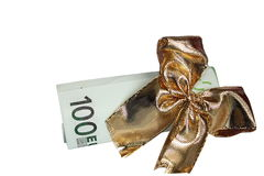 Euros as a gift Stock Photography
