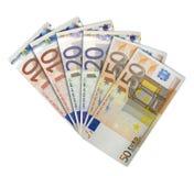 Euros aventados Foto de archivo