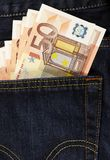 Euros in back pocket Stock Photography