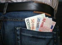 Euros in back pocket