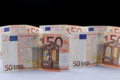 Euros background. Euro banknotes, 50 and 100 Royalty Free Stock Image