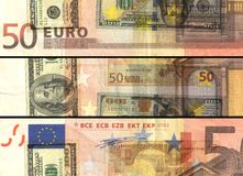 Mixed currency $ € 50 euros banknote bill in colored collage Royalty Free Stock Image