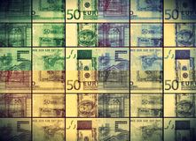 50 euros banknote bill in colored collage royalty free stock photo