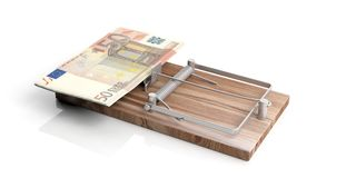 Euros banknotes on a mouse trap isolated on white background. 3d illustration Royalty Free Stock Photo