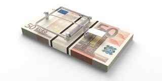 Euros banknotes mouse trap isolated on white background. 3d illustration. Fifty euros banknotes mouse trap isolated on white background. 3d illustration Royalty Free Stock Photos